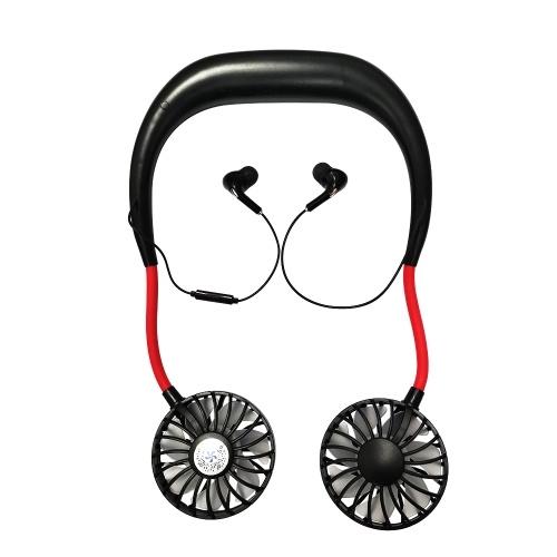2020 Nuevo Q6 BT Supreme Edition Ventilador colgante de cuello de viento de 4 velocidades con auriculares Micro USB recargable USB para oficina Deportes al aire libre Viajes en verano