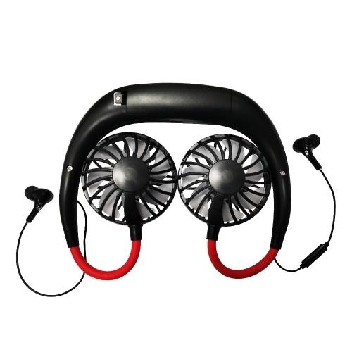 4-Gang Wind Neck Hanging Fan mit Headset USB wiederaufladbar Micro USB für Office Outdoor Sports Travel im Sommer