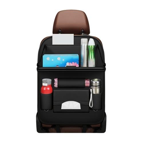 Органайзер для автокресла, Автомобильный органайзер Защита заднего сиденья Органайзер для хранения автомобиля из искусственной кожи со складным лотком для стола, Держатель для планшета, Коробка для салфеток, Несколько карманов (1 шт. Черного цвета)
