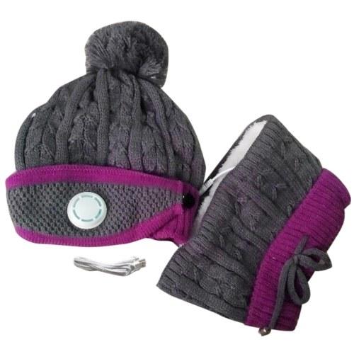 Cachecol de aquecimento USB feminino de 3 unidades conjunto de inverno tampa tampa facial gola proteção facial (cinza e preto)
