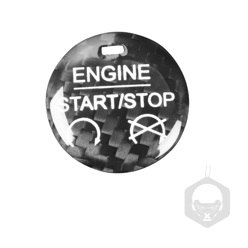 Carbon Fibre Protector Car Engine Start Stop Switch Button Sticker Ignition Sticker Car Interior Decoration Replacement for Ford Mustang 2015-2019