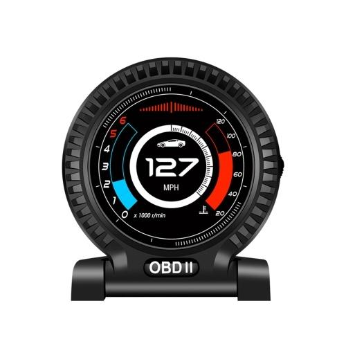 Автомобильный ЖК-прибор OBD Спидометр высокого разрешения Диагностический инструмент автомобиля OBDⅡ Устранение кода неисправности Безопасное вождение Цифровой измеритель Сигнализация превышения скорости для всех транспортных средств