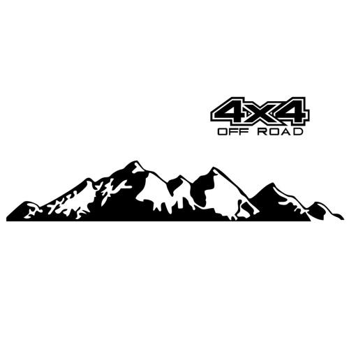 Autoaufkleber 4X4 Off Road (44 * 17 cm) + Mountain Graphic Decal (150 * 27 cm) Aufkleber für Auto LKW Außenzubehör