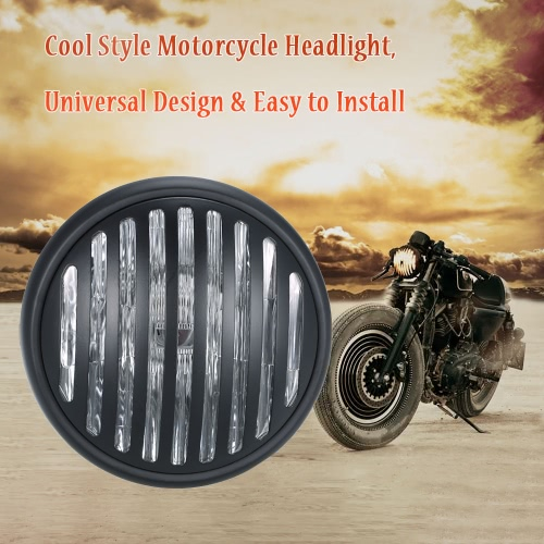 Universal 6.3 Inch Vintage Motorcycle Headlight Old School Design Grill Style for Harley Cafe Racer