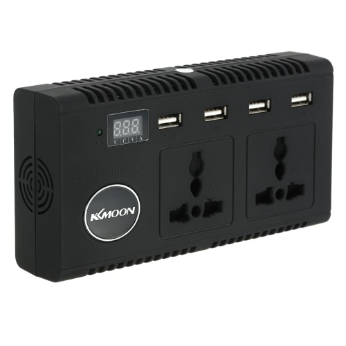 KKmoon 200W Car Power Inverter DC 12V to AC 220V 50Hz with 4 USB Ports / 2 AC Outlet / Voltage Display