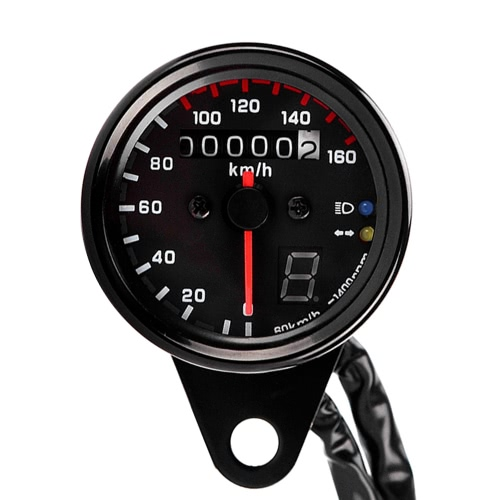 12V Universal Motorcycle Speedometer Tachometer Gauge w/ LED Backlight