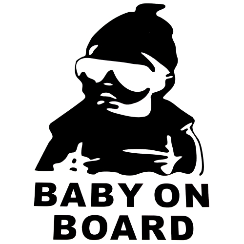 Cute Lovely Baby Cool Hat Sunglasses on Board Pattern Car Sticker Window Reflective Sheeting 3D Car Windshield Decal Rear Funny Outside Styling Auto Vehicle Decoration Affixed Cover Laptop Truck Accessories