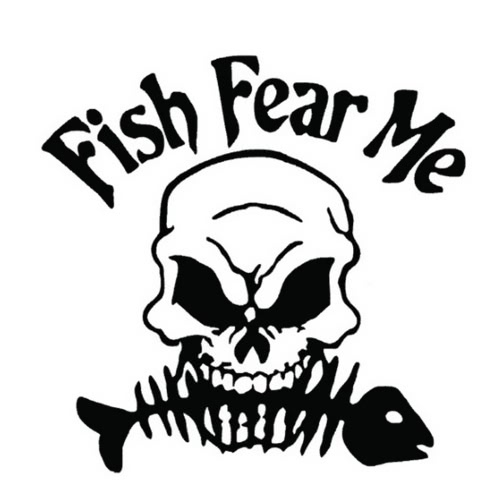 Novel Fish Fear Me Word Scary Cool Go Fishing Skull Skeleton Pattern