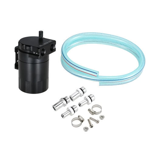 Universal Baffled Oil Catch Can Tank Reservoir with 10mm / 14mm Fittings and Oil Dipstick