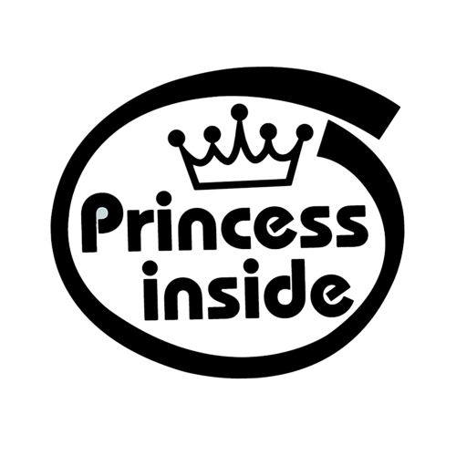 Cute Princess Inside Car Body Styling Sticker Extraíble a prueba de agua
