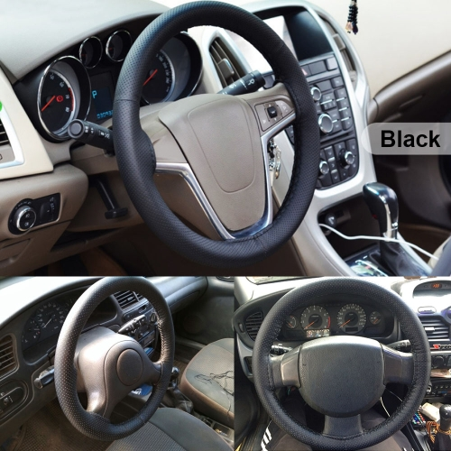 Car Steering Wheel Cover PU Leather Diameter 38cm w/ Needles and Thread