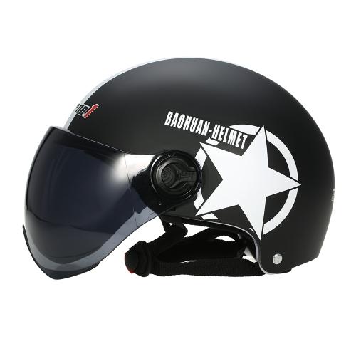 Casco de moto medio rostro abierto Casco de protección de tamaño ajustable Cascos de cabeza Estrella unisex de cinco puntas