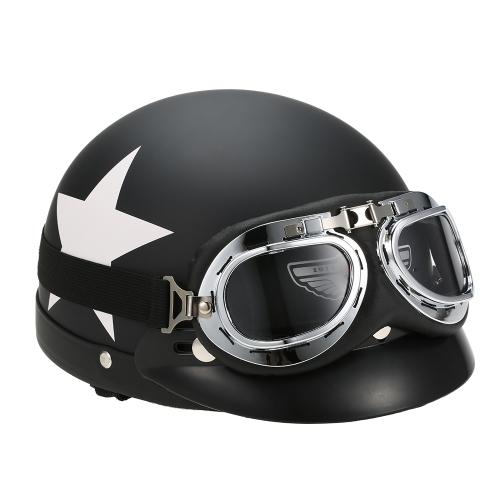 Capacete de motociclista de meio-rosto aberto com óculos de proteção para visor Biker Scooter Touring