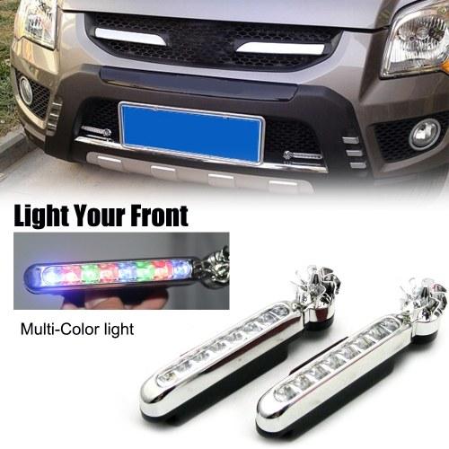 2 piezas de luz diurna para automóvil 8 Leds Lámpara de niebla con energía eólica Luz universal impermeable universal para exteriores