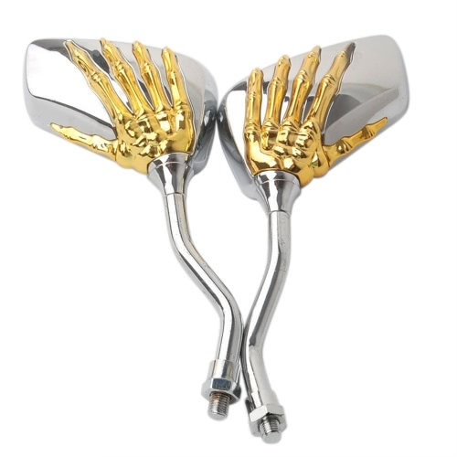 1 paire de motos universelles en alliage d'aluminium Guidon Crâne motif à la main Ghost Claw Rétroviseur réglable Side Glass Mirror Accessoires modifiés pour les voitures de rue Scooters