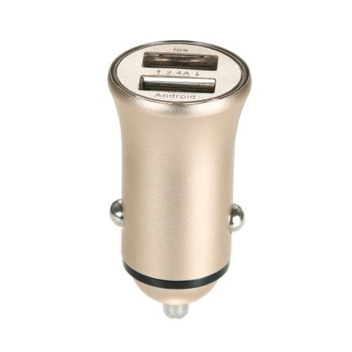 Двухпортовый USB Автомобильное зарядное устройство 2.4A Быстродействующий адаптер Алюминиевая оболочка для iPhone Samsung