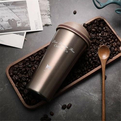 500 ml Edelstahl Auto Kaffeetasse Auslaufsicher Isolierte Thermoskanne Tasse Auto Tragbare Reisekaffeetasse