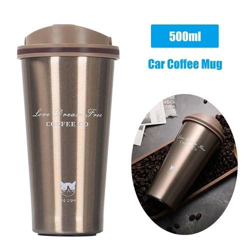 Taza de café de coche de acero inoxidable de 500 ml Taza de café de viaje portátil con aislamiento térmico a prueba de fugas Taza de café de viaje