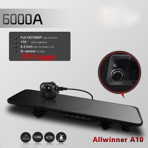 6000A Car Rearview Mirror Camera Recorder DVR Dual Lens 4.3