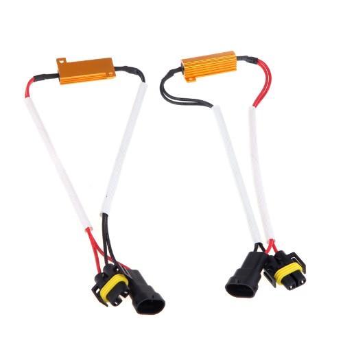 2pcs H8 H9 H11 LED lumière Fog Xenon HID DRL décodeur résistance charge résistance Canbus fil harnais adaptateur lampe 50w 6 ohm 9-14V