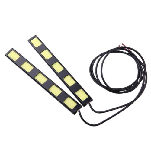 1Pair 10W COB 5-LED Car Daytime Running Light Bar DRL Driving Lamp White 12V