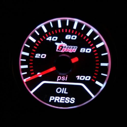"""2 """"52mm 0-100PSI Wskaźnik uniwersalnego wskaźnika obiektywu dymu samochodowego Ciśnienie oleju Kontroler Samochodowy Stylizacja Meterometr Samochodowy"""