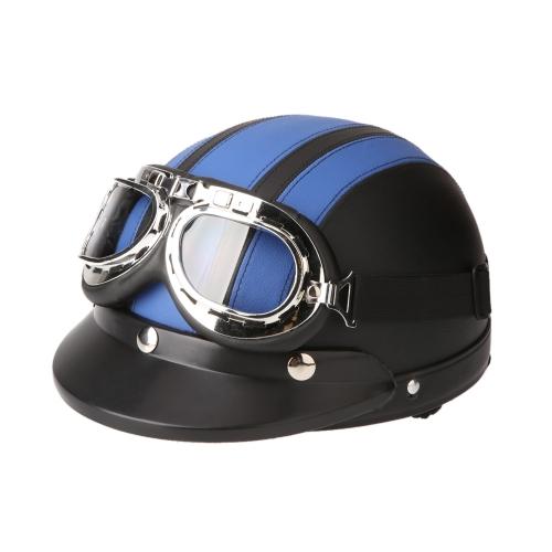 Мотоцикл скутер открытым лицом половину кожа шлем с забралом УФ очки ретро Винтаж Стиль 54-60 см