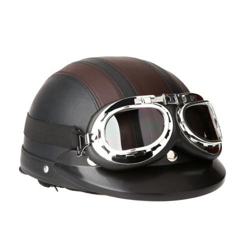 Мотоциклетный Кожаный Шлем открытое лицо с Увиорезистентным UV Очким и Козырьком древний стиль 54-60cm фото