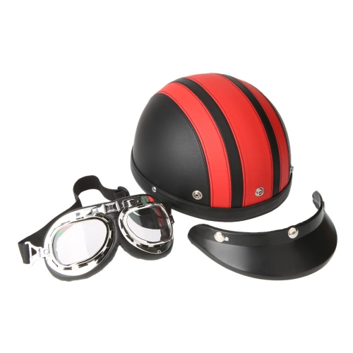 Motorcycle Scooter Open Face Half Leather Helmet