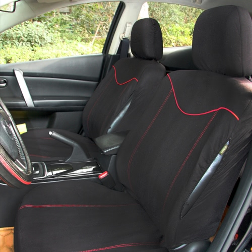 Car Front Seat Cover 2Pcs Full Set Universal Size Water Resistant Black+Red