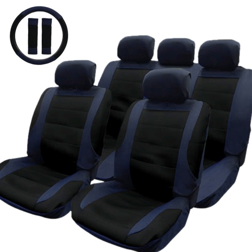 TIROL Auto Interior Accessories Universal Styling Car Seat Cover Set & Matching Steering Wheel Cover & Seat Belt Pads