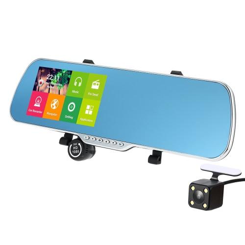 """5 """"Android 4.4 Smart GPS Navegação Retrovisor de carro DVR Mirror com câmera de Rearview"""