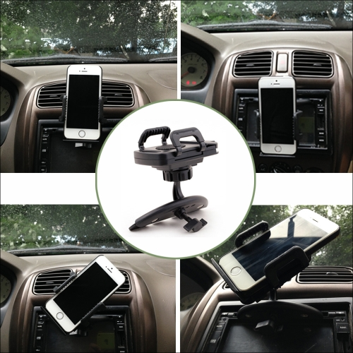 Car CD Slot Mount Push-button Three-sided Cradle Phone Holder for Smartphone GPS