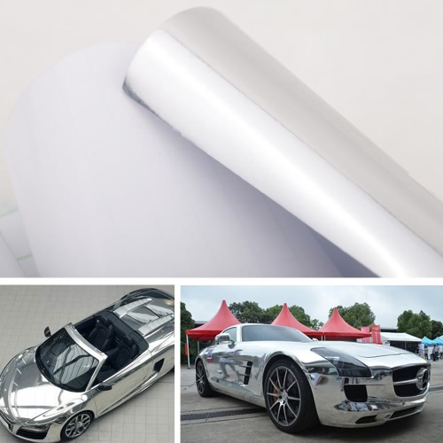 12″ * 60″ Chrome Mirror Silver Vinyl Wrap Sticker Decal Film Sheet Self-adhesive Air Bubble Free