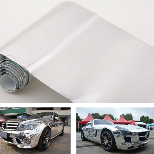 6 * 60″ Chrome miroir Vinyl argent Wrap Sticker Decal Film feuille autocollante bulle d'Air libre