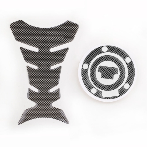 New Carbon-Look Fuel Tank Decal Pad + Gas Cap Pad Cover Sticker For Yamaha YZF R1 R6