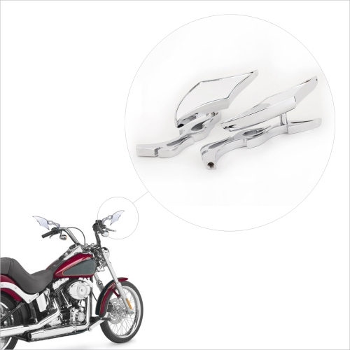 Pair Silver Diamond Flame Custom Rearview Mirror for Harley Motorcycle Cruiser Chopper 8mm 10mm