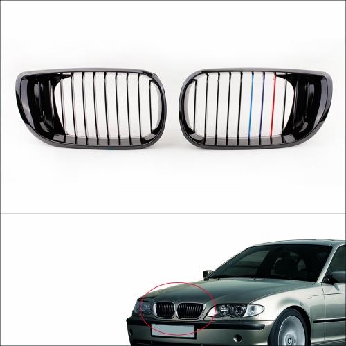 2pcs noir M-couleur rein avant calandre pour BMW E46 4 portes 3 Series Facelift berline 2002-2005