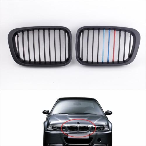 2pcs grille de feu antibrouillard mat M-couleur avant calandre noire pour BMW E46 série 3 4 portes 1998-2000