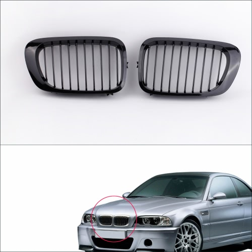 2Pcs Gloss Black Front Kidney Sport Grille for BMW E46 3 Series 2 Door Coupe Convertible 1998-2002