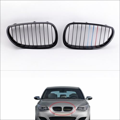 2Pcs Błyszczący kolor czarny M-przednia kratka dla BMW E60 Series 5 Series Sedan 2004-2010