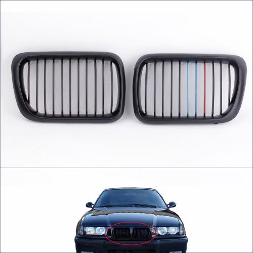 KKmoon 2pcs Mate Negro M-Color del frente del riñón Grille para BMW E36 Serie 3 1997 hasta 1999
