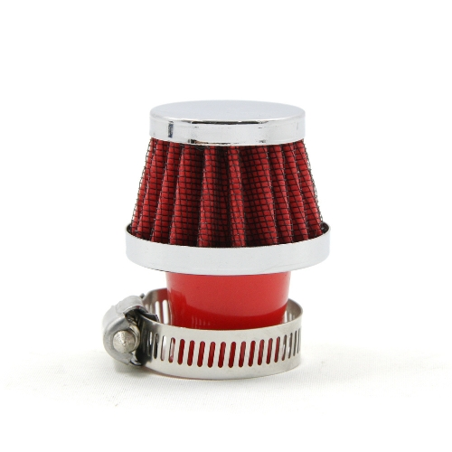 Nouvelle voiture universelle rond conique Air filtre 25 MM Clamp-On Auto Air froid absorption des filtres Mini rouge