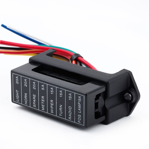 8 Way DC 32V Circuit Car Trailer Auto Blade Fuse Box Block Holder ATC ATO 2-input 8-ouput Wire