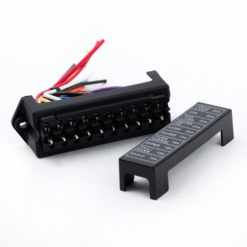 10 Way DC32V Circuit Car Trailer Auto Blade Fuse Box Block Holder ATC ATO 2-input 10-ouput Wire