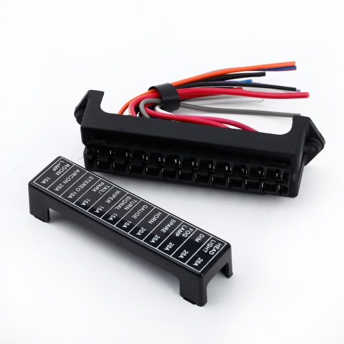 12 Way DC32V Circuit Car Trailer Auto Blade Fuse Box Block Holder ATC ATO 2-input 12-ouput Wire
