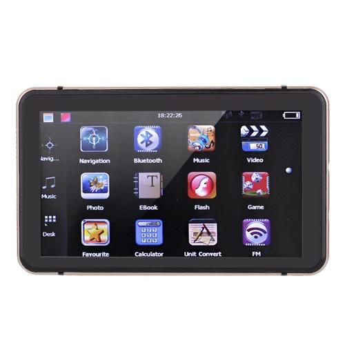 7-calowy ekran dotykowy HD Przenośna nawigacja samochodowa GPS 128 MB pamięci RAM 4 GB Odtwarzanie wideo na odtwarzanie szampana Gold Car Navigator z bezpłatną mapą BT +