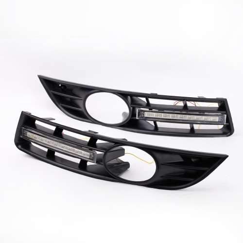 2Pcs LED DRL Daytime Running Light with Grille for VW Passat B6 2006-2009