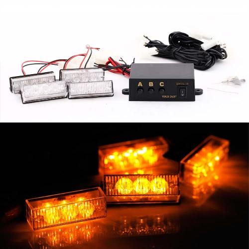 12 LED Amber Emergency Vehicle Strobe Lights Car Flash Warning Lights for Front Grille/Deck
