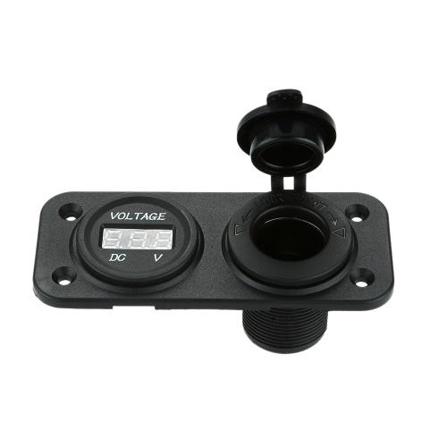 Car Motorcycle LED Digital Display Voltmeter Meter with Cigarette Lighter Power Socket for Car Truck Motorcycle Boat for ATV